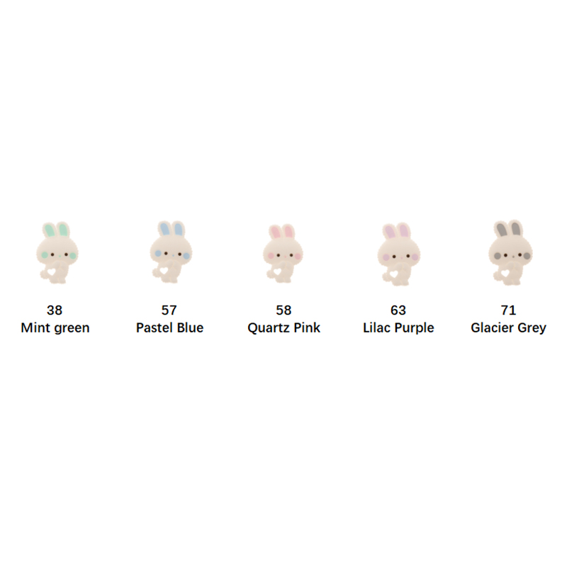 Fkisbox 10pcs Rodent Silicone Bunny Baby Teether Rabbit BPA Free Infant Chew Charms Teething Necklace Accessories Pendant Toys