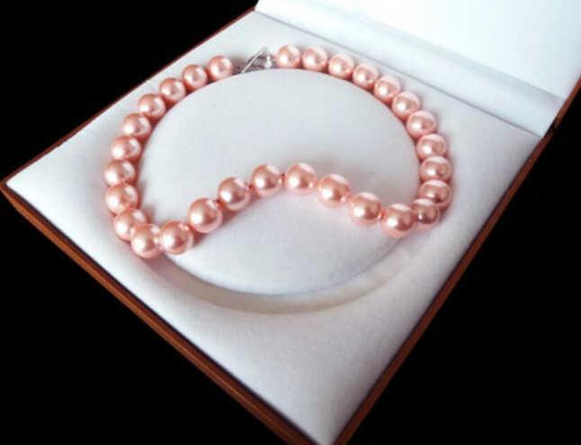 """+++ 907 14 มม.แฟชั่นสีชมพูร้อนสี Shell Pearl necklace18"""""""