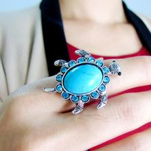 Vintage Ring Women Turtle Shape Faux Turquoise Inlaid Adjustable Finger Ring Jewelry New Woman's accesories