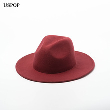USPOP 2019 Autumn new women hats wool jazz fedoras female casual solid color jazz hats winter thick wool hats jazzberry magic autumn jazz page 5