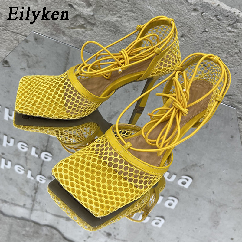 Eilyken 2021 New Sexy Yellow Mesh Pumps Sandals Female Square Toe high heel Lace Up Cross tied Stiletto hollow Dress shoes