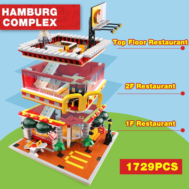 4 In 1 City Street View McDonaldss Restaurant House with LED Building Blocks Model Compatible with Lego Set Architecture 2