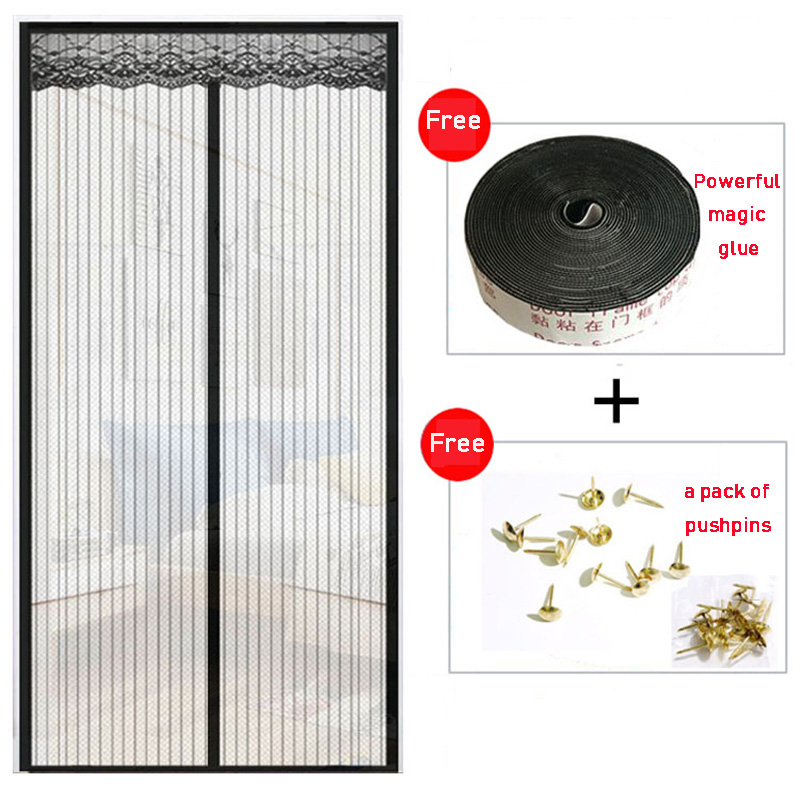 Anti Mosquito Door Tulle Curtains For Bedroom Summer Magnetic Mesh Net Printed Soft Curtain Automatic Closing Window Screen