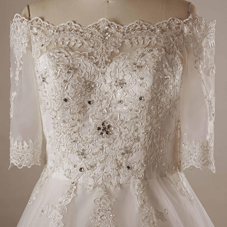 שמלות כלה באורך רצפת מתוקה אונליין revo-llusion אפליקציות ללא משענת קתדרלת רכבת כלה שמלה