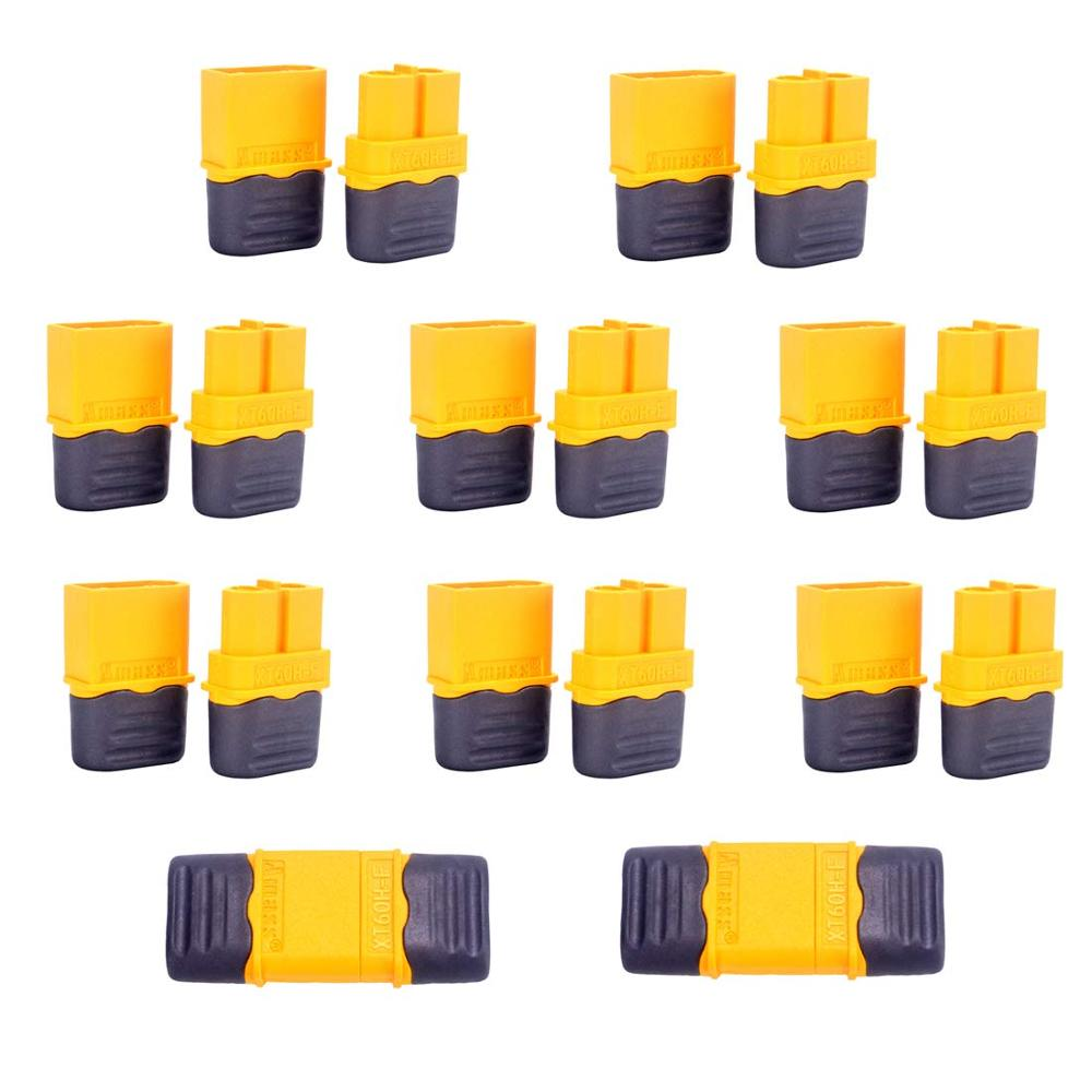 100Pairs Amass XT60H Plug Male and Female <font><b>3.5mm</b></font> golden Plated <font><b>Bullet</b></font> Connectors with Lock Protective Sleeve for RC Lipo Battery image