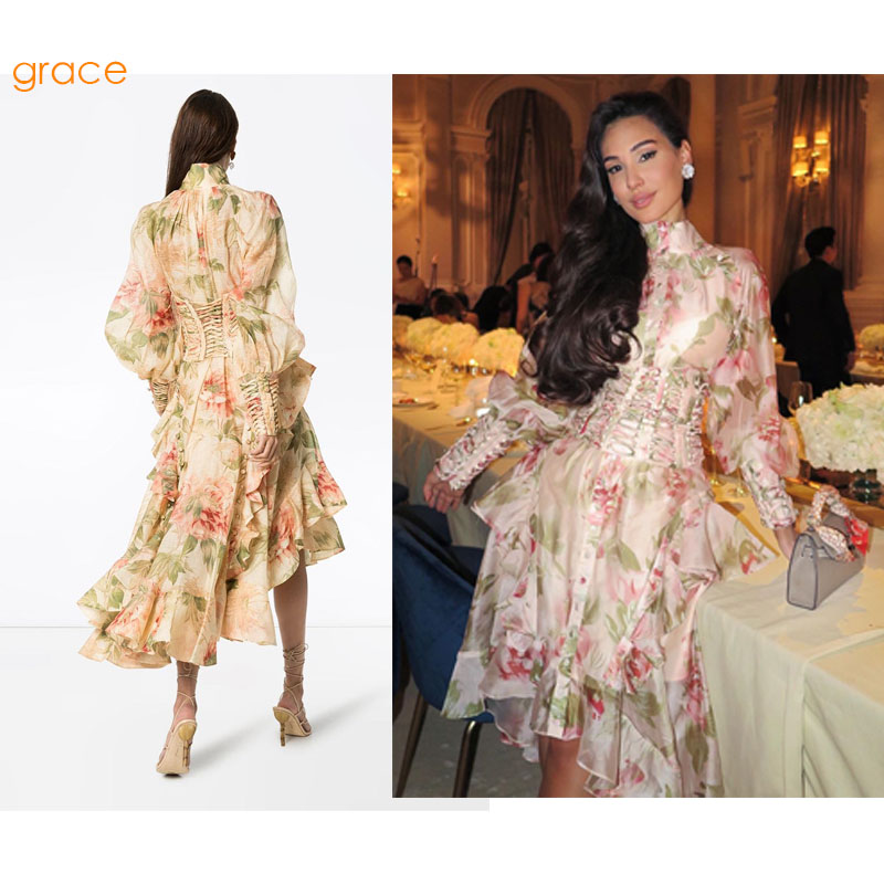 GetSpring Women Dress Long Flower Printed Party Dresses Puff Sleeve Ruffle Vintage Dress Bandage High Waist Cocktail Prom Dress