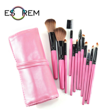 ESOREM Wood Handle 12pcs Makeup Brushes Synthetic With Portable Bag Eyelash Brush Sponge Tapered Blush Pinceaux Maquillage 1403
