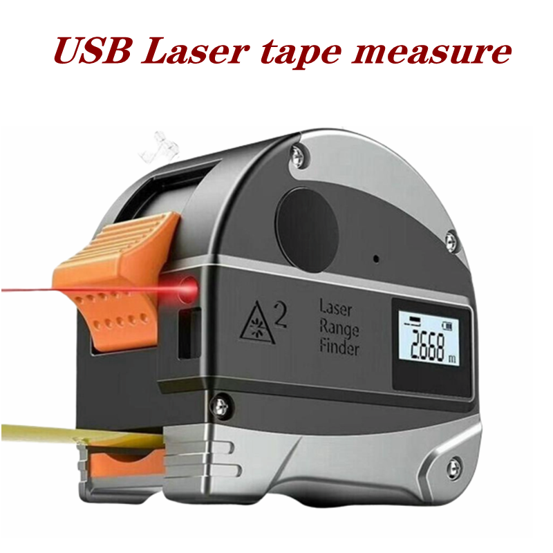 30M USB Laser Range Finder Retractable Measuring Tools Electronic Infrared Finder Portable High Precision Steel Tape Measure