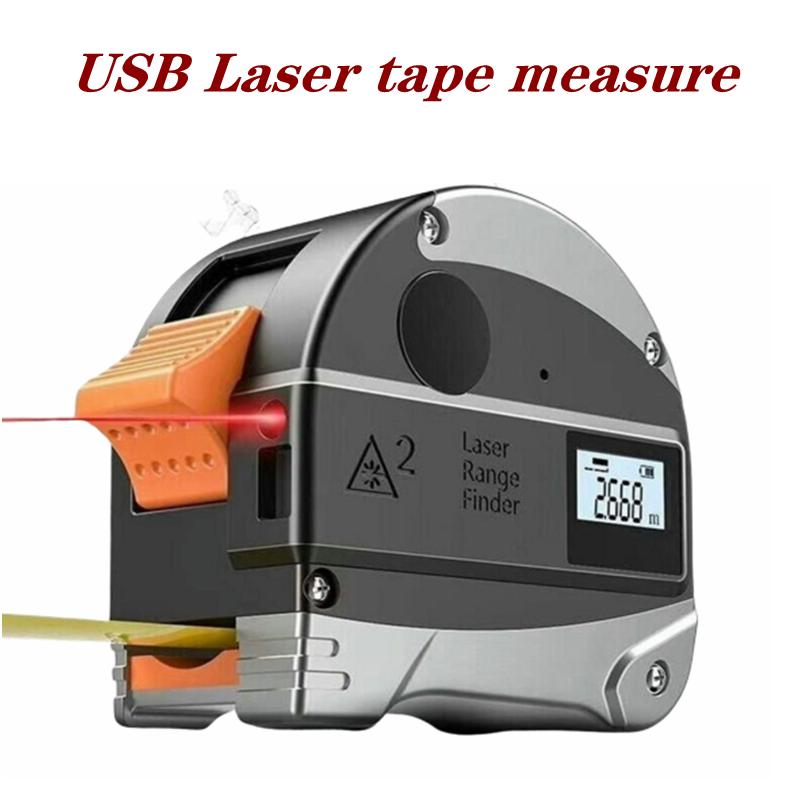 30M USB Laser Range Finder Retractable Measuring Tools Electronic Infrared Finder Portable High Precision Steel Tape Measure