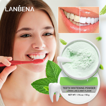 LANBENA Teeth Whitening Powder Tangy Lemon Lime Hygiene Dental Tooth Cleaning Remove Tartar Safe Protect Bright Teeth Oral Care