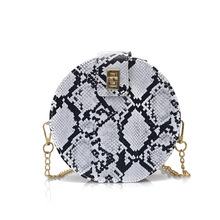2019 New Retro Serpentine Chain Round Bag Women Handbags Printed Small PU Leather Shoulder Crossbody Bags Female Messenger