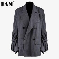 Женский плиссированный Блейзер EAM, Серый свободный пиджак с отложным воротником и длинным рукавом-фонариком, весна-осень 2020, 1N497