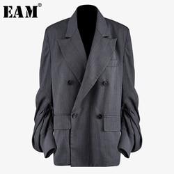 [EAM] Frauen Grau Plissee Split Blazer Neue Revers Lange Laterne Hülse Lose Fit Jacke Mode Flut Frühling Herbst 2020 1N497