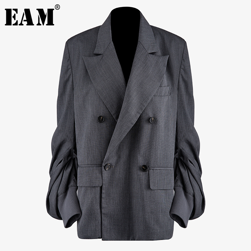 [EAM]  Women Gray Pleated Split Blazer New Lapel Long Lantern Sleeve Loose Fit  Jacket Fashion Tide Spring Autumn 2020 1N497