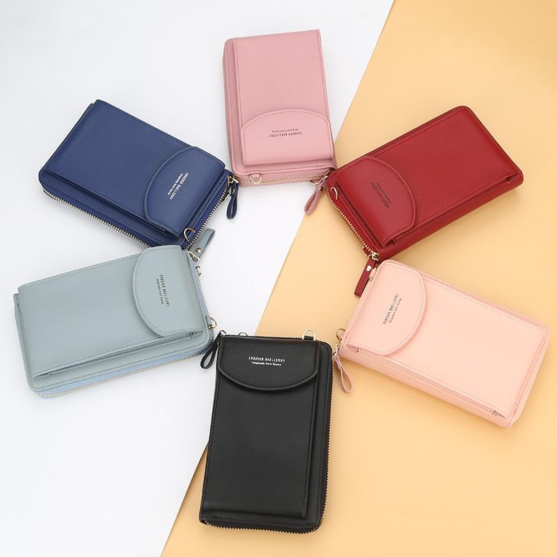 Baellerry Solid Color Small Shoulder Bag Multi-function Letter Phone Money Women Wallets Pocket Bags Clutch Organizer Storage