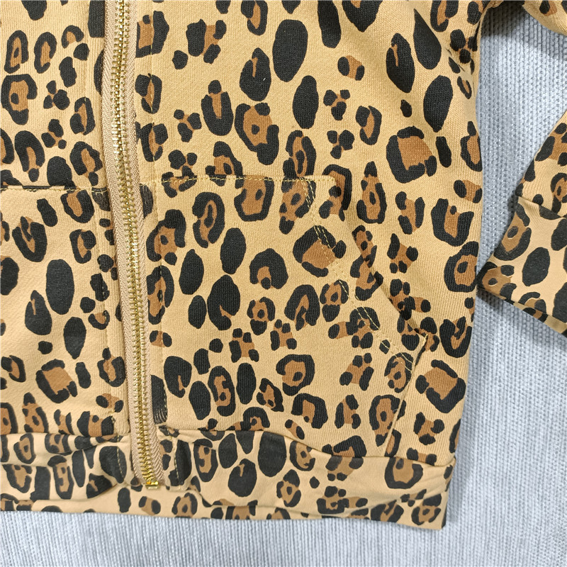 Spring and Summer 2021 new boys and girls Leopard print t-shirt dress leggings hoodie jacket 5