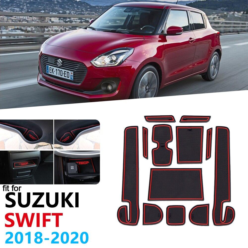 Anti-Slip Rubber Gate Slot Cup Mat For Suzuki Swift 4 2018 2019 2020 ZC33S Door Groove Mat Dzire Cup Mat Car Accessories