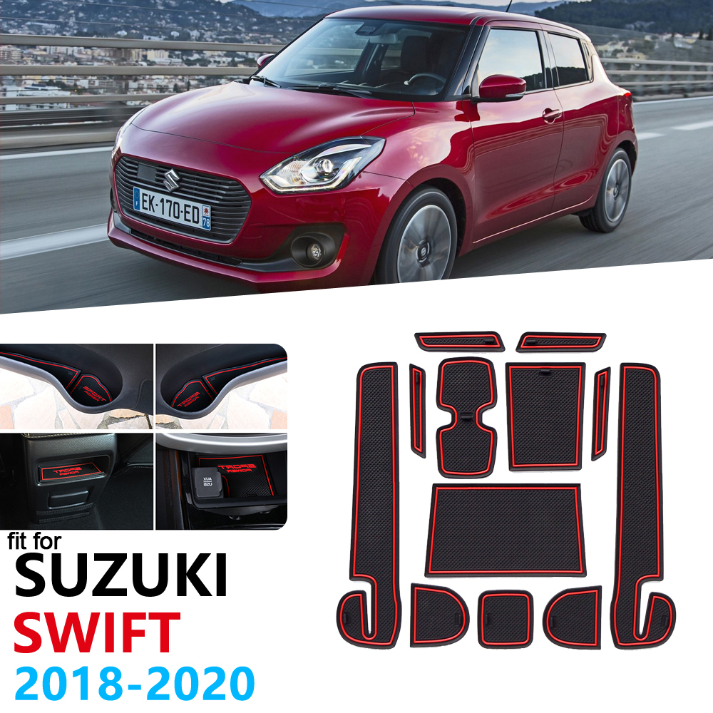 Anti-Slip Rubber Gate Slot Cup Mat For <font><b>Suzuki</b></font> <font><b>Swift</b></font> 4 <font><b>2018</b></font> 2019 2020 ZC33S Door Groove Mat Dzire Cup Mat Car <font><b>Accessories</b></font> image