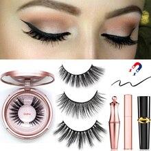 Magnetic Eyeliner Eyelashes Set Natural Thick Handmade No Glue Prevent Allergy Magnetic Fake Eyelashes With Eyelashes Applicator