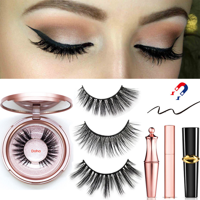 Magnetic Eyeliner Eyelashes Set Natural Thick Handmade No Glue Prevent Allergy Magnetic Fake Eyelashes With Eyelashes Applicator