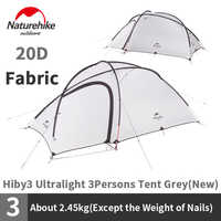 Naturehike Hiby Series Camping Tent 20D Silicone Nylon Fabric Ultralight For 3 Persons With Free Mat N18K240-P