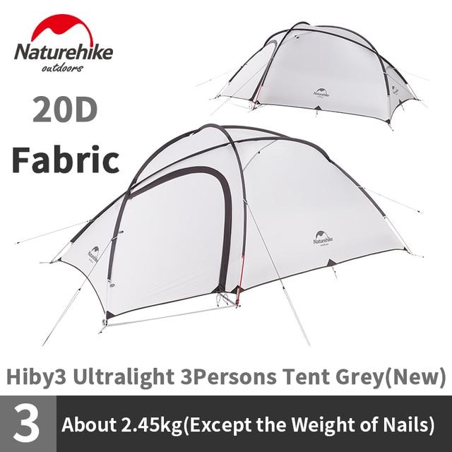Палатка Naturehike Hiby Series туристическая, силиконовая нейлоновая ткань 20D, Ультралегкая для 3 человек, с свободным ковриком