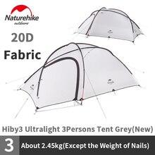 Naturehike Hiby serisi kamp çadırı 20D silikon naylon kumaş Ultralight 3 kişilik ücretsiz Mat N18K240 P