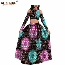 2017 Fashion afrcian party dress for women Top and Skirt 100%cotton africane style femme clothing bzain riche maxi A722614