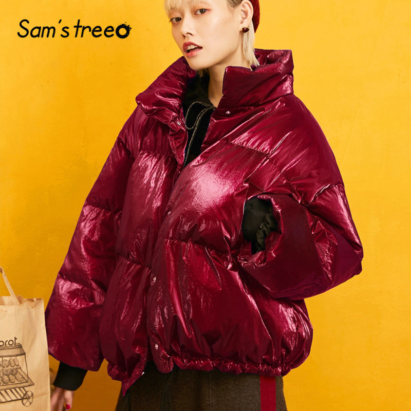 SAM'S TREE Red Solid Satin Warmness   Down     Coat   Women 2019 Winter Silver Drawstring Loose Casual Office Ladies Oversize Outwear