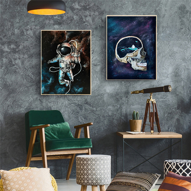 Astronaut Outer Space Oil Painting on Canvas Kids Room Decor Dreaming Stars Poster and Print Wall Pictures for Home Decoration