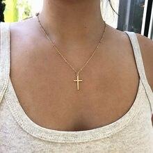 Colar religioso de moda 2020, colar feminino com cruz de ouro, de verão, com corrente de ouro