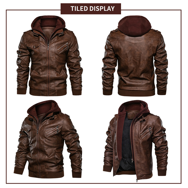 New Mens Outwear Bomber Vintage Autumn Black PU Leather Casual Jacket Slim Fit Motorcycle Biker Coats Removable Hood 4