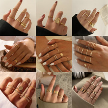 LETAPI Hiphop Rock Metal Geometry Circular Punk Rings Set Gold Color Finger Accessories Buckle Joint Tail Ring for Women Jewelry