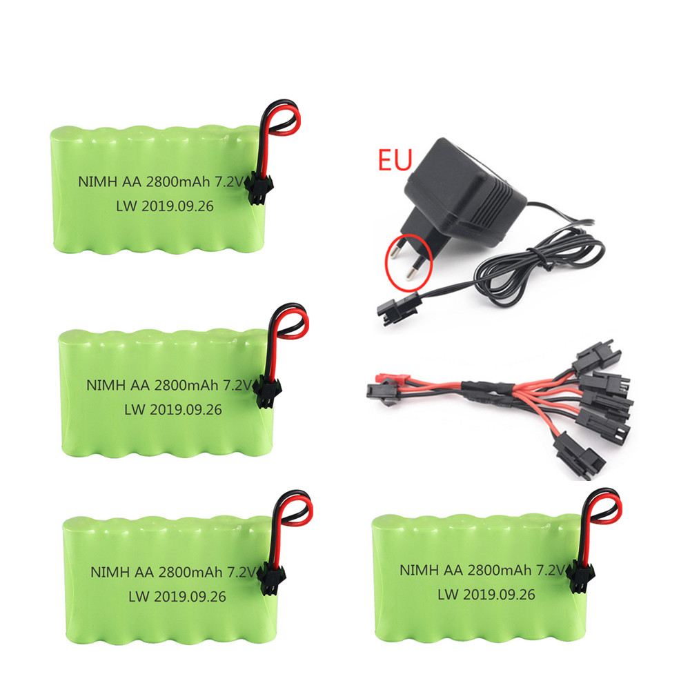 7.2v 2800mAh Rechargeable Battery + 7.2v Charger For Rc toy Car Tank Train Robot Boat Gun NIMH AA 7.2v Battery Pack SM Plug