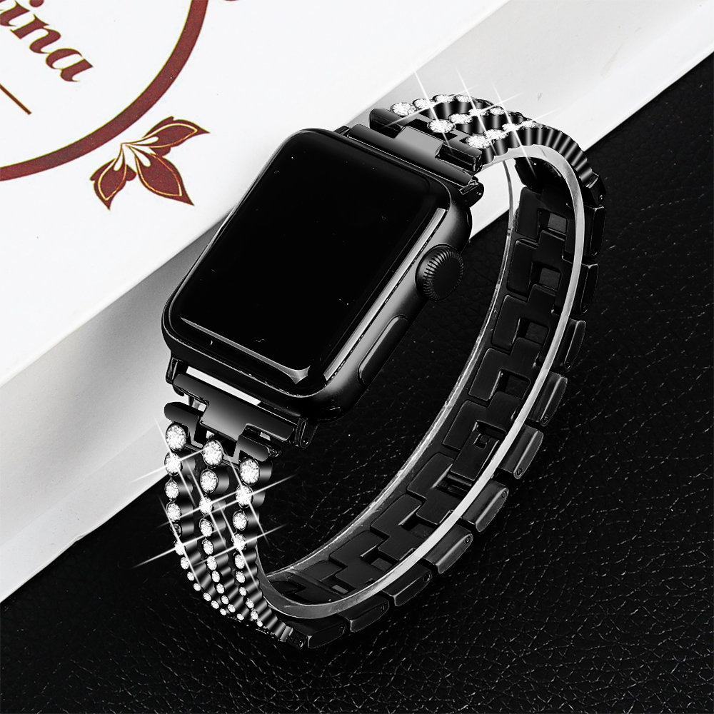 Bling Link Bands Compatible Apple Watch Band 38mm 40mm iWatch Series 5 Series 4 Series 3 Series 2 Series 1 Metal Wristband Strap