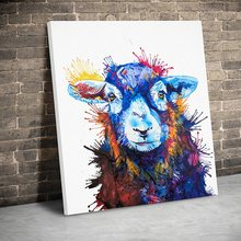 Framed Colored Baby Sheep Animals Posters Canvas Paintings Wall Art Canvas Prints Pictures Living Room Home Decor Wooden Frame(China)