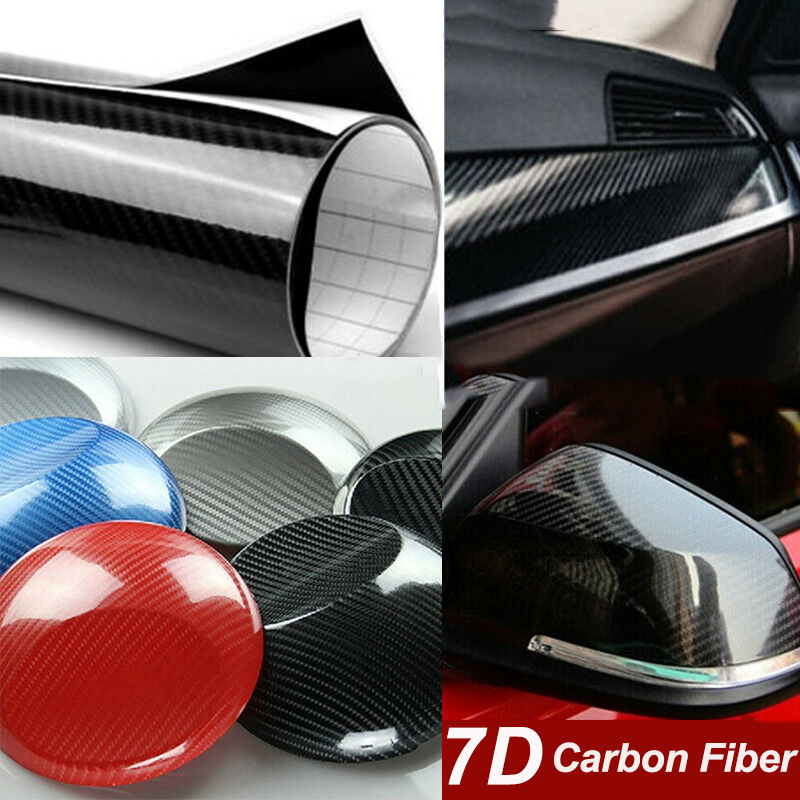 7D Premium Super Gloss Carbon Fiber Vinyl Film Car Styling Wrap Motorcycle Car Styling Accessories Interior Carbon Fiber Film