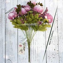 Ramo de flores de seda de peonía Artificial Vintage, decoración de boda para el hogar, flores falsas