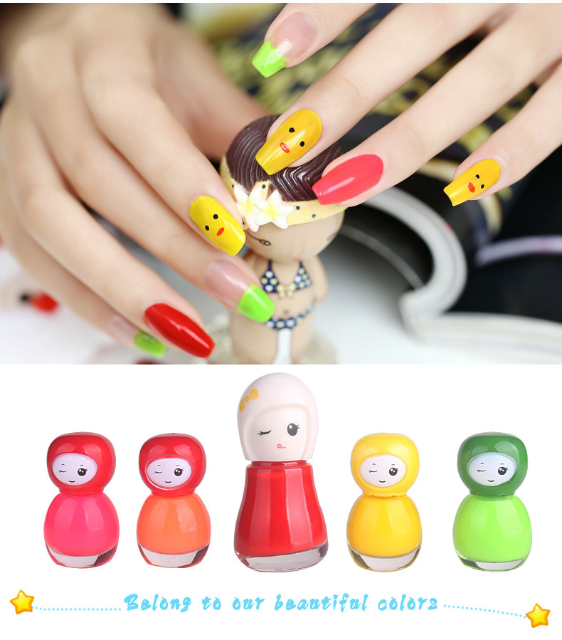 BK Non-toxic kids peel off nail polish set 6ml makeup nail enamel dolls bottle nail art varnish for christmas birthday gift