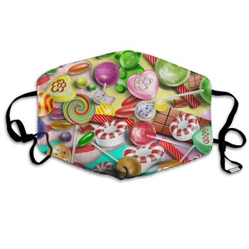 Unisex Print Mouth Mask - Colorful Lollipop Cute Graphics Polyester Anti-dust Mouth-Muffle - Fashion Washed Reusable Face Masks unisex print mouth mask abstract light bulb head polyester anti dust mouth muffle fashion washed reusable face masks for