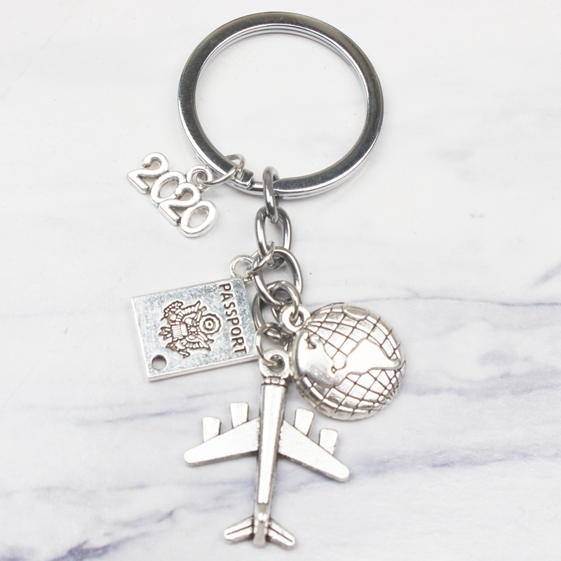 New 2020 2021 2022 Earth Plane Passport Pendant Keychain Travel Key Ring Friendship Best Friend Jewelry Key Chain Diy Handmade