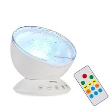 цена на 7 Colors LED Projector Night Light Nightlight Sleep Mini Music Aurora Starry Sky Ocean Wave Remote Control Baby Lamp Kids Gift