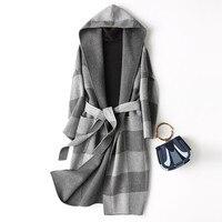2020 Spring Autumn Wool Coat Female Sided Long Winter Jacket Women England Style Plaid Woolen Coats Hooded 37129 WYQ1174