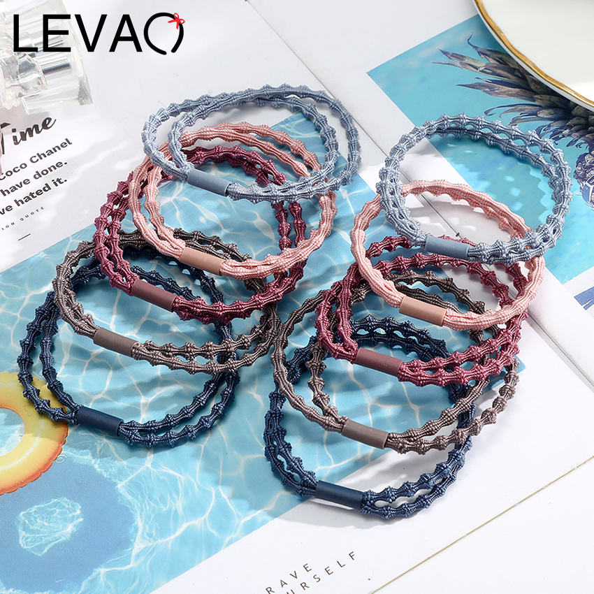 Levao 10PCS/lot Colorful 2 In 1 Knot Elastic Rubber Bands Hair Accessories For Women And Girls Tie Ponytail Holders Headwear