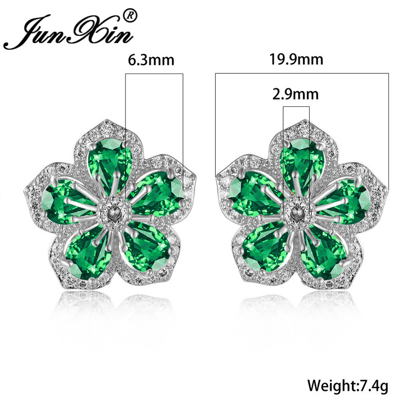 Dainty Crystal Big Cherry Flower Earrings For Women White Gold Green Blue Red Zircon Stone Wedding Stud Earrings Vintage Jewelry