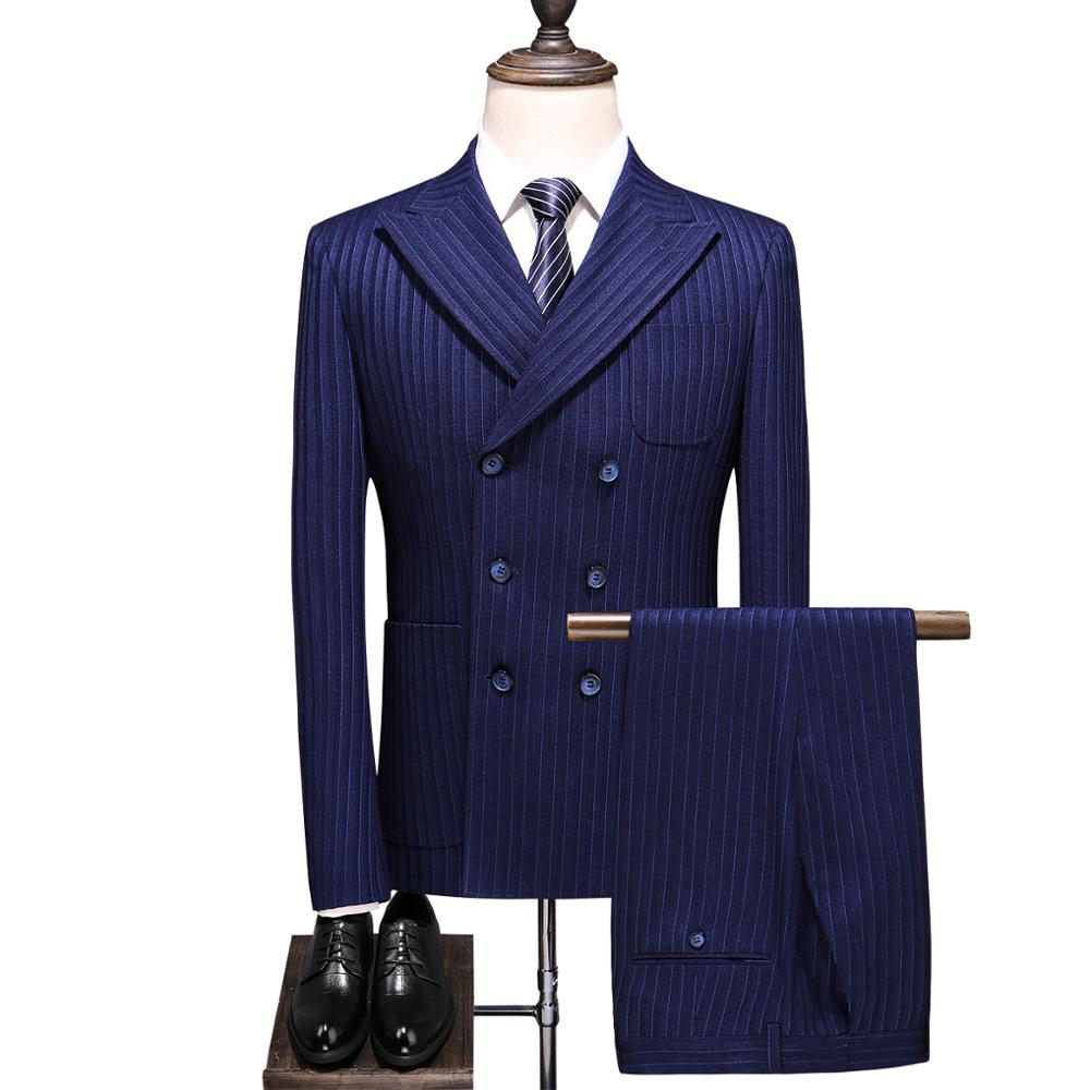 Double Breasted Striped 3 Piece Suit Men 2019 Korean Deep-blue Slim Fit Wedding Man Suits Business Blazers Pants Vest Big Size