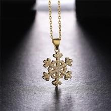 Juya – collier avec pendentif en Zircon pour femme, accessoire de mode, Micro pavé, flocon de neige, bijou de nouvel an, cadeau de noël