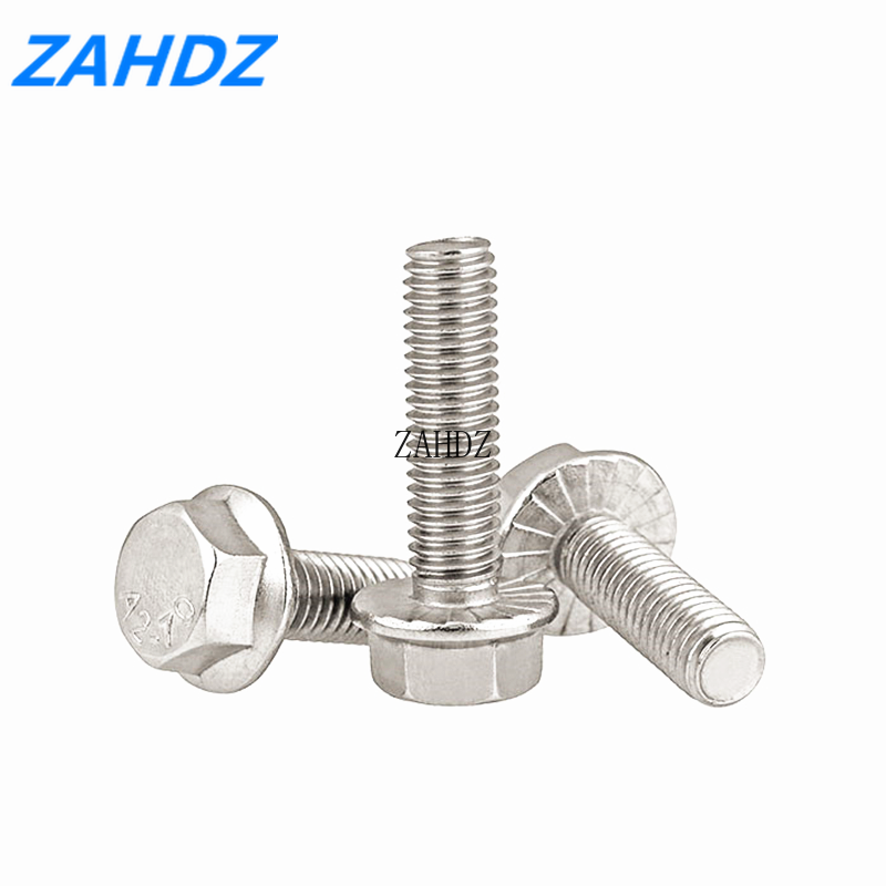 2/5/10Pcs M5 M6 <font><b>M8</b></font> M10 Hexagon Flange <font><b>Bolts</b></font> Stainless Steel With Tooth Anti-slip Screw image