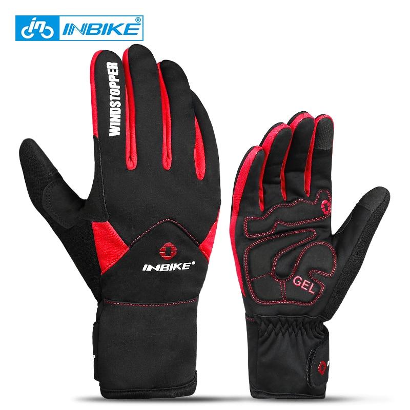 Велосипедные перчатки INBIKE для сенсорных экранов, зимние теплые ветрозащитные велосипедные перчатки с закрытыми пальцами, водонепроницаем...