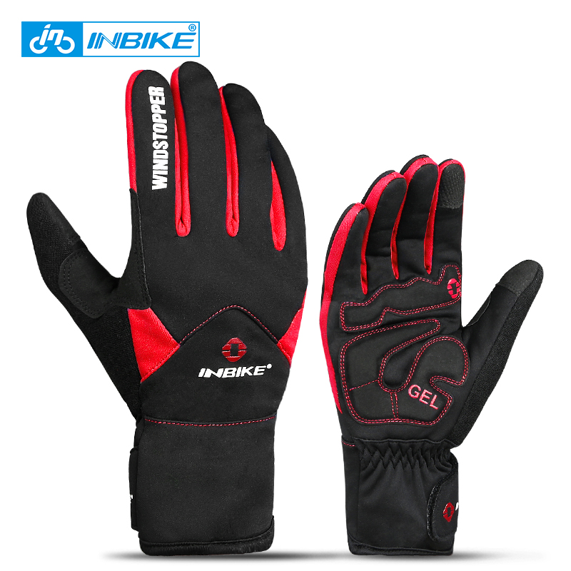 INBIKE Touchscreen Bike Handschuhe <font><b>Winter</b></font> Thermische Winddicht Warme Voll Finger Radfahren Handschuhe Wasserdichte Fahrrad Handschuh Für Männer Frauen image